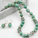 Wholesale New Design 12mm Green Imperial Jasper Set ( Necklace with Matched Earrings )