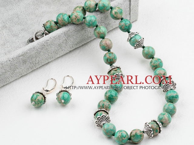 New Design 12mm Green Imperial Jasper Set ( Necklace with Matched Earrings )