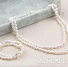 Two Strands A Grade Round White Freshwater Pearl Set (Beade Necklace and Beaded Bracelet with Silver Clasp)