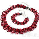 Wholesale Multi Strands Red Coral and Black Crystal Set ( Collar Necklace and Matched Bracelet )