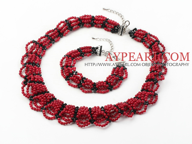 Multi Strands Red Coral and Black Crystal Set ( Collar Necklace and Matched Bracelet )