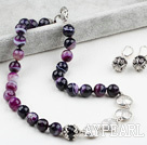 Faceted Brazil Stripe Purple Agate Set ( Necklace and Matched Earrings)