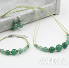 Wholesale Cool Style Aventurine Set ( Necklace Bracelet and Matched Earrings )
