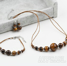 Wholesale New Design Tiger Eye Set ( Necklace Bracelet and Matched Earrings )