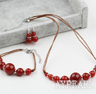 Wholesale New Design Carnelian Agate Set ( Necklace Bracelet and Matched Earrings )