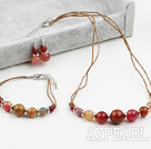 Three Color Jade Set ( Necklace Bracelet and Matched Earrings )