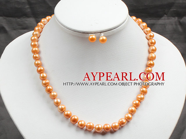 8-9mm Golden Yellow Color Pearl Necklace and Matched Studs Earrings Sets