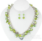 Wholesale dyed pearl crystal and shell metal chain necklace with matched earrings