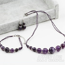 Wholesale Simple Design Amethyst Set (Necklace Bracelet and Matched Earrings)