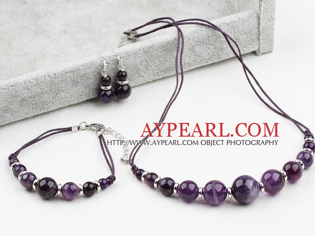 Simple Design Amethyst Set (Necklace Bracelet and Matched Earrings)