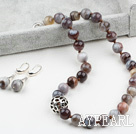 12mm Botswana Agate Set ( Necklace and Matched Earrings )