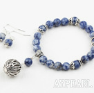 Simple Design Blue Spot Stone Set ( Elastic Bracelet and Matched Earrings )