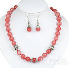 12mm Faceted Cherry Quartz Set ( Necklace and Matched Earrings )