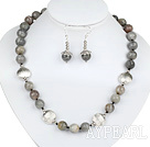 12mm Faceted Flashing Stone Set ( Necklace and Matched Earrings )