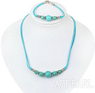 Wholesale turquoise necklace bracelet set with extendable chain