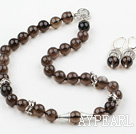 12mm Natural Smoky Quartz Set (kjede og matchet øredobber)