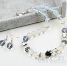 12mm Opal Crystal Set ( Necklace and Matched Earrings )