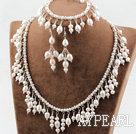 New Design Natural White Freshwater Pearl Bridal Set ( Necklace Bracelet and Matched Earrings )
