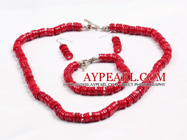 Simple Style Disc Shape Red Coral Beads Jewelry Set(Necklace With Matched Bracelet And Earrings)