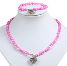Classic Simple Design Potato Shape Bright Pink Pearl Necklace & Bracelet Set With Heart Charm