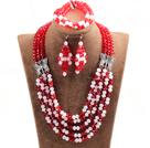 Glamorous 5 Layers Cute Pink Red Crystal Beads African Wedding Jewelry Set With Butterfly Accessory (Necklace With Mathced Bracelet And Earrings)