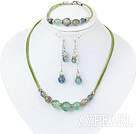 Wholesale favourite rainbow fluorite necklace bracelet earring set