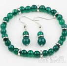 Classic Design Round Green Agate Elastic Beaded Bracelet with Matched Earrings