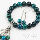 Wholesale Classic Design Round Phoenix Elastic Beaded Bracelet with Matched Dangle Earrings