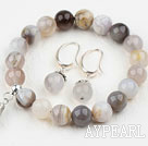Classic Design Round Gray Agate Elastic Beaded Bracelet with Matched Earrings
