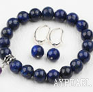 Classic Design Round Lapis Elastic Beaded Bracelet with Matched Earrings