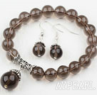 Wholesale Classic Design Round Natural Smoky Quartz Elastic Beaded Bracelet with Matched Earrings