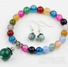 Classic Design Round Faceted Multi Color Agate Beaded Bracelet with Matched Earrings