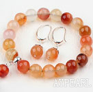 Classic Design Natural Color Agate Beaded Bracelet with Matched Earrings