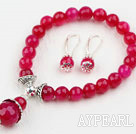 Wholesale Classic Design Faceted Round Rose Red Agate Beaded Bracelet with Matched Earrings