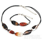 Wholesale chunky agate and garnet necklace bracelet set