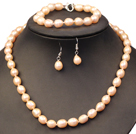 Graceful Mother Gift 8-9mm Natural Pink Freshwater Pearl Jewelry Set (Necklace, Bracelet & Earrings)