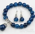 Wholesale Classic Design Round Blue Agate Beaded Bracelet with Matched Earrings