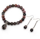 Wholesale Classic Design Round Rhodochrosite Beaded Bracelet with Matched Earrings