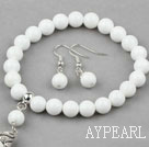 Wholesale Classic Design Round White Porcelain Stone Beaded Bracelet with Matched Earrings