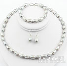 *9-10mm Gray Color Rice Shape Freshwater Pearl Set ( Necklace Bracelet and Matched Earrings )