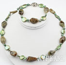 Green Pearl and Green Garnet Set ( Necklace and Matched Bracelet )