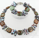 Wholesale Biwa Pearl and Green Opal Set ( Necklace and Matched Bracelet )
