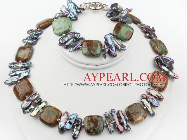 Biwa Pearl and Green Opal Set ( Necklace and Matched Bracelet )