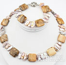Wholesale Biwa Pearl and Picture Jasper Set ( Necklace and Matched Bracelet )