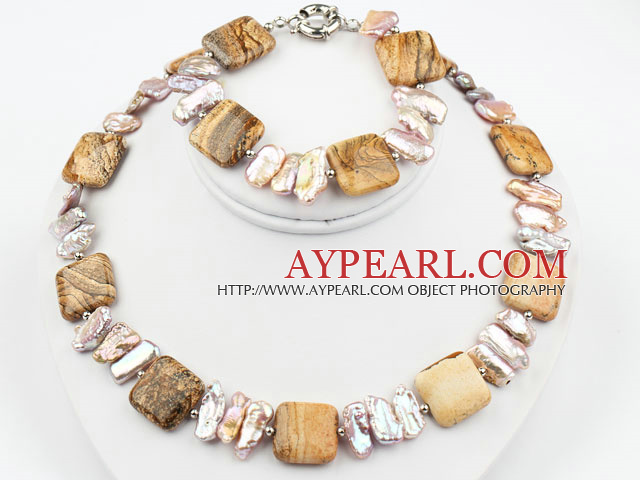 Biwa Pearl and Picture Jasper Set ( Necklace and Matched Bracelet )