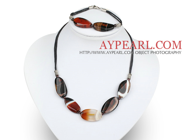 chunky agate and garnet necklace bracelet set
