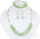 green pearl and crystal  necklace bracelet earrings set