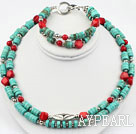 Wholesale Two Strands Turquoise and Red Coral Set ( Necklace and Matched Bracelet )