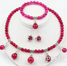 Rose Pink Agate Set ( Necklace Bracelet and Matched Earrings )