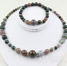 Round Indian Agate Beaded Set ( Neacklace and Matched Bracelet )